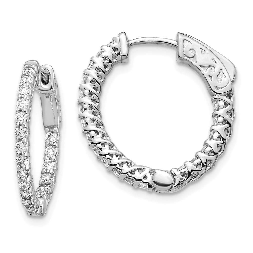 Real 14kt White Gold Round Hoop w//Safety Clasp Earring Mountings
