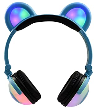 LIMSON Auriculares Plegables para Niños, Luz LED Brillantes Recargable Headphones con Oreja de Oso,