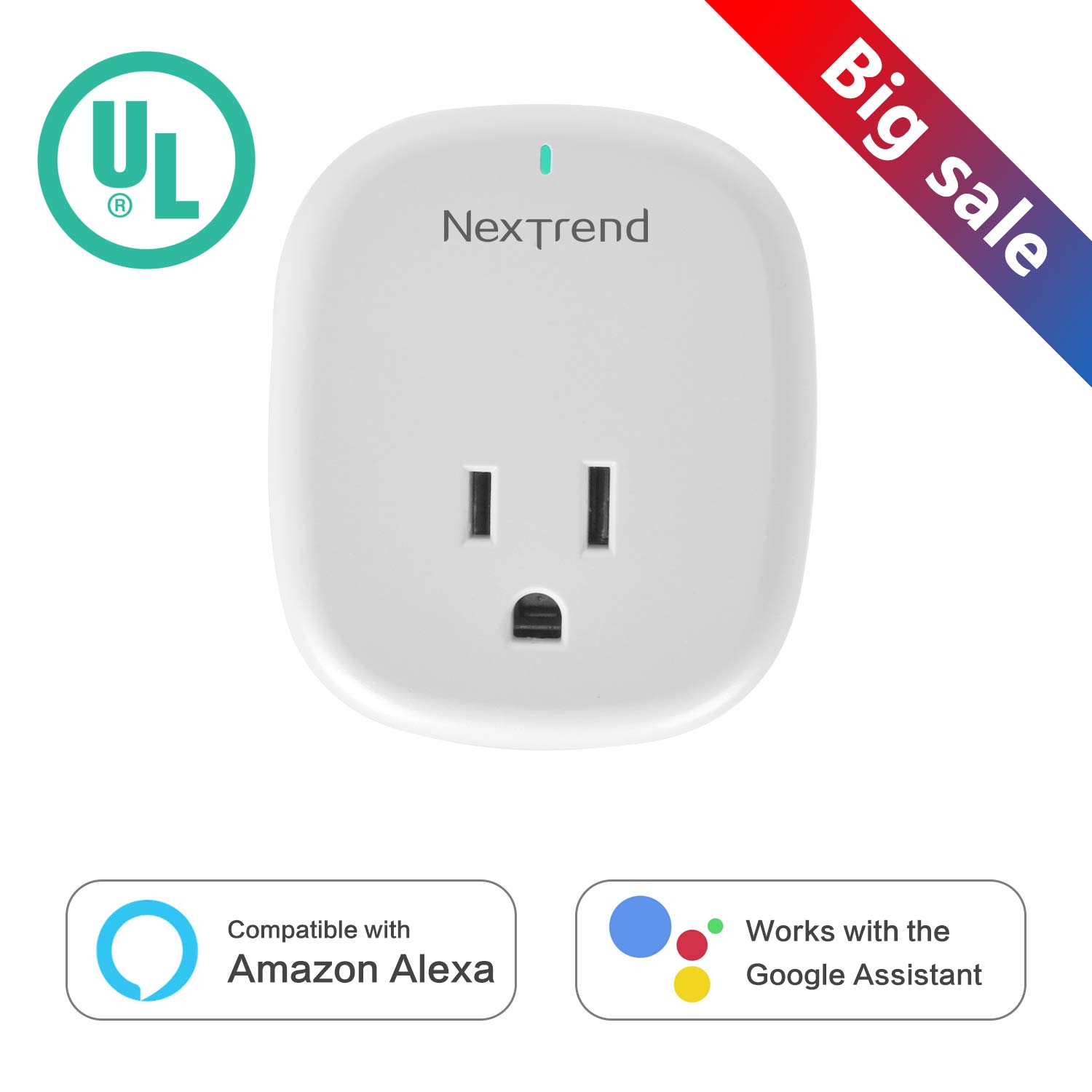 Mini Smart WiFi Plug, NexTrend Mini WiFi Smart Socket Electrical Power Switch No Hub Required with 5V/1A USB Charging Port Compatible with Alexa Support 2.4GHz Wifi Networks for Household Applicances