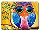 Hand painted owl Personalized Rectangle Mouse Pads Size:9.4' x7.9' RB125