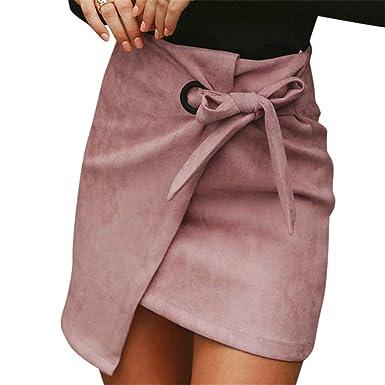 Damen Punkt Röcke Rüschen Midirock Sommer Strand Hohe Taille  Asymmetrisch Röcke