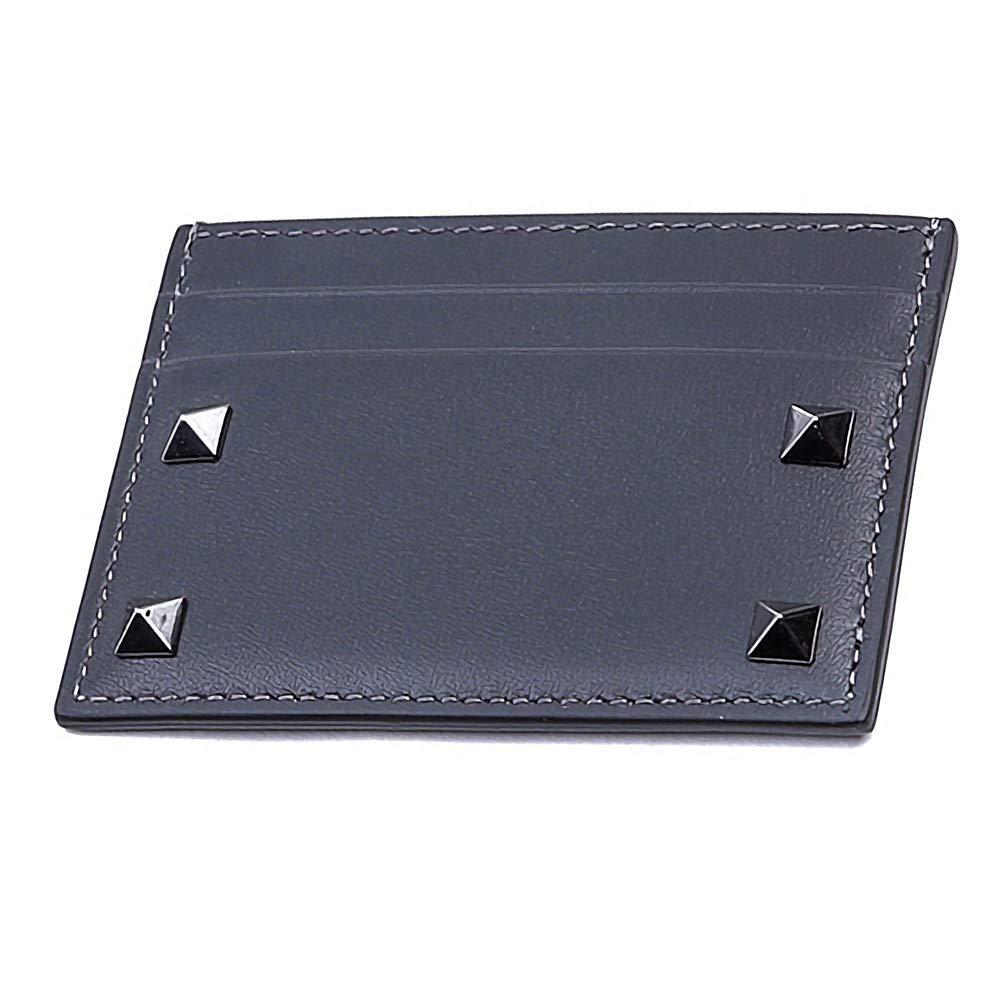 [ヴァレンティノ] [VALENTINO] メンズ ロックスタッズ レザー カードケース 名刺入れ グレー系 [並行輸入品] B07GNR2M4V  One Size