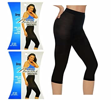 06734cc98f Image Unavailable. Image not available for. Color  Leggs Body Beautiful  Smoothers Long Leg Capri Small Jet ...