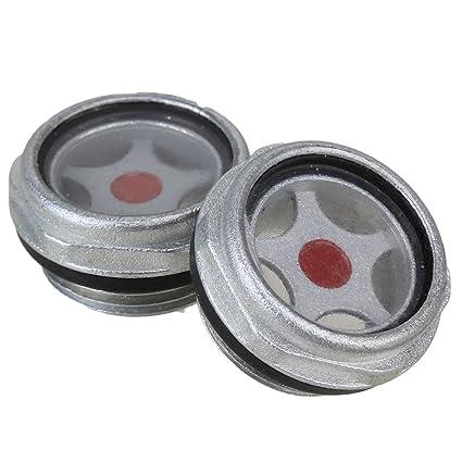 Yibuy 2 Piezas Metal 32 mm de diámetro de Nivel de Aceite Visor de Vidrio para