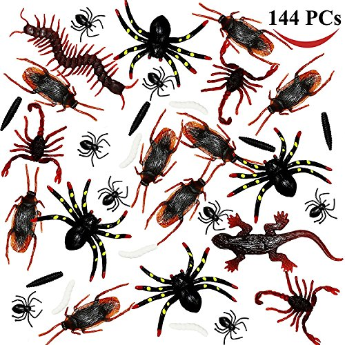 144 Pieces Plastic Realistic Bugs - Fake Cockroaches, Spiders, Scorpions and Worms for Halloween Party Favors and Decoration. -