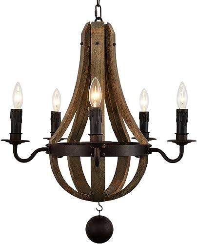 DOCHEER Vintage Rustic Wooden Pendant Wine Barrel Chandelier Lamp W 22 Reclaimed Wood Rust Metal Chandeliers 5-Light Living Bedroom Lamp Swag Ceiling Light Home Decor Light Fixture
