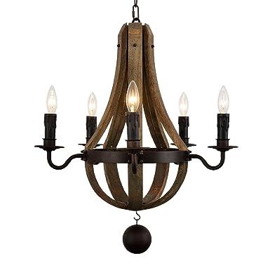Docheer Vintage American Rustic Wooden Pendant Wine Barrel Chandelier Lamp W 22 Reclaimed Wood Rust Metal Chandelier 5-Light Living Bedroom Lamp Swag Ceiling Light Decoration L
