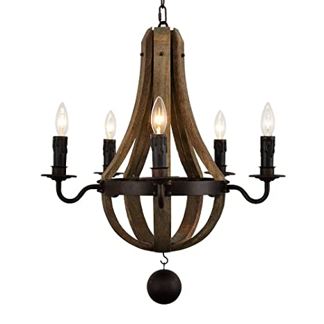 Docheer 5 light vintage rust iron wood chandelier lighting large dia docheer 5 light vintage rust iron wood chandelier lighting large dia 22quot wine barrel aloadofball Image collections