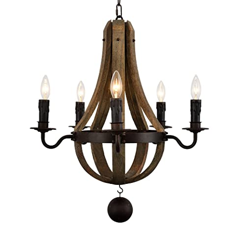 Docheer 5 light vintage rust iron wood chandelier lighting large docheer 5 light vintage rust iron wood chandelier lighting large dia 22quot wine barrel mozeypictures Image collections