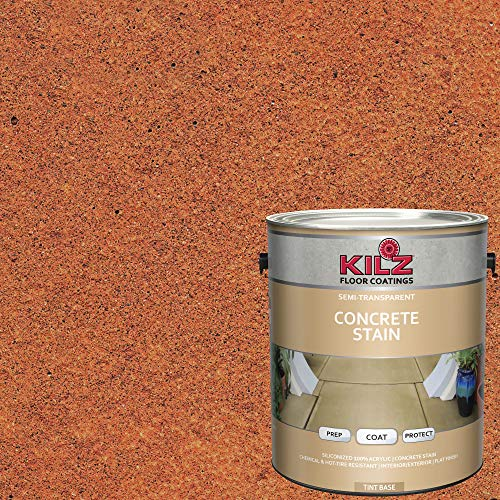 KILZ 13512701 L397311 Interior/Exterior Semi-Transparent Color Concrete Stain 1 Gallon Smoldering Copper/Terra Cotta