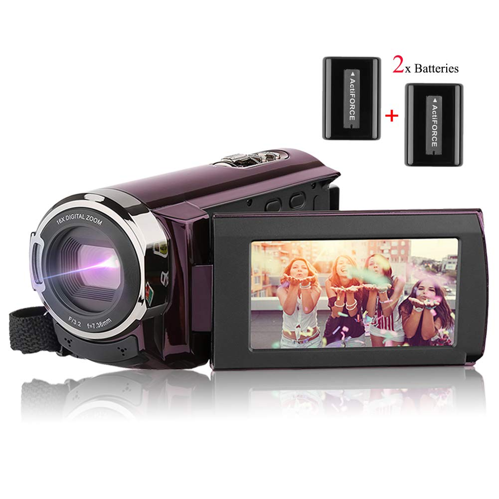 Video Camera Camcorder AiTechny HD 1080P Digital Camera 3.0 inch LCD 270 Degrees Rotatable Touch Screen 16X Digital Zoom Camera Recorder 2 Batteries