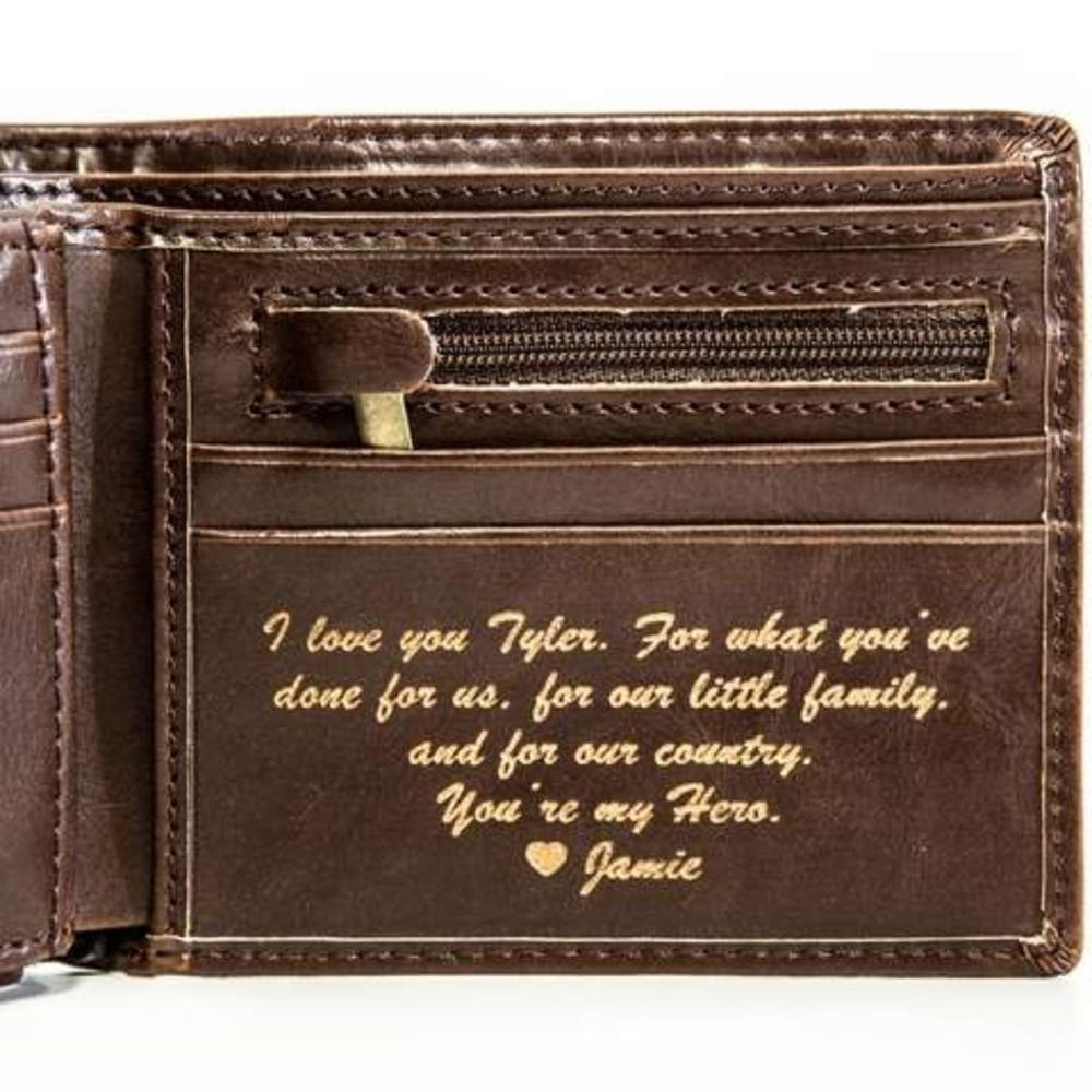 Personalized Mens Wallet - Leather Wallet, The Perfect Mens Gift, Boyfriend Gift, Father's Day Gift or Groomsmen Gift - Personalized Gifts for Men: a Bifold wallet with ID sleeve and coin pocket