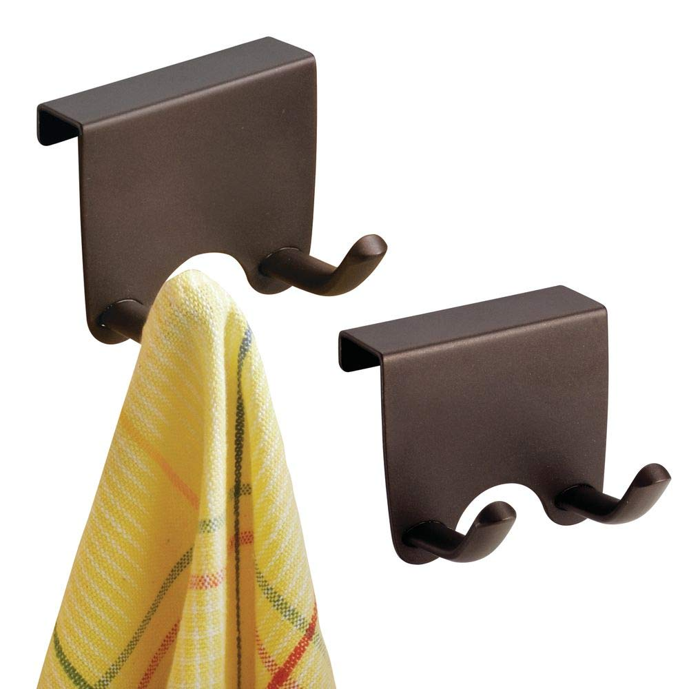 Pack of 2 Bronze mDesign Over-the-Cabinet Kitchen Storage Hooks for Dish Towels or Pot Holders