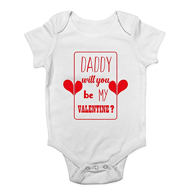 Shopagift Daddy Will You be My Valentines Red Baby Sleepsuit Romper
