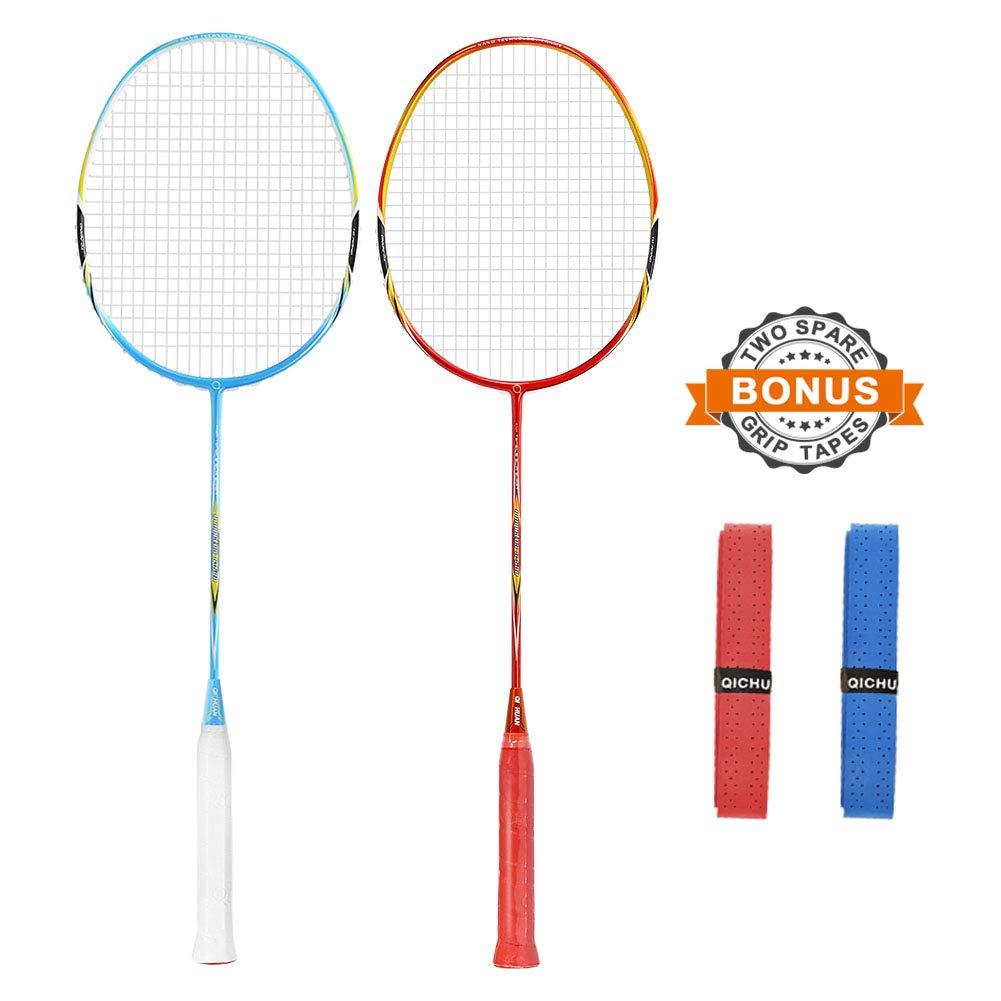 QICHUAN 2 PCS 100% Graphite Badminton Racket Set, Large Racquet Bag / 2 Grip Tapes Included (Red+Blue)