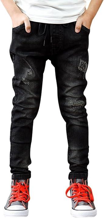 Zixing Ninos Chico Cremallera Stretch Pantalon Slim Jeans Rotos Pantalones Vaqueros Agujero Amazon Es Ropa Y Accesorios