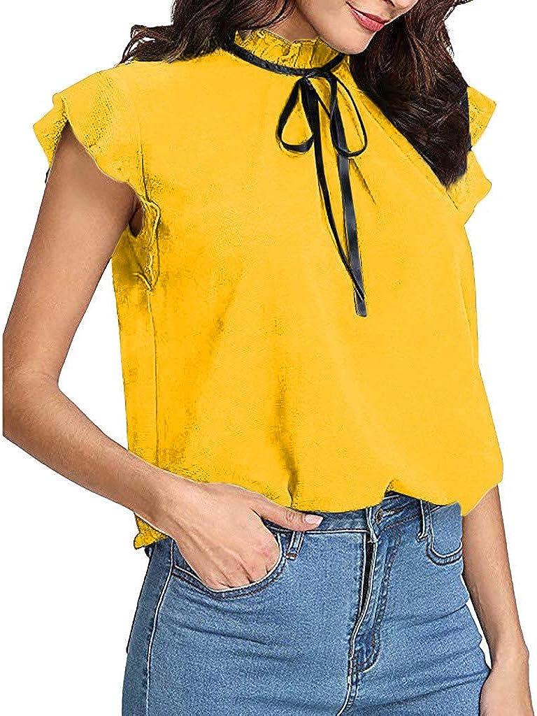 Rcool Camiseta Camisetas Tops y Blusas Camisetas Mujer Manga Corta Camisetas Deporte Mujer Camisetas Mujer, Gorra de Manga Larga, Camiseta de Pajarita, Blusa de Gasa Maciza: Amazon.es: Ropa y accesorios