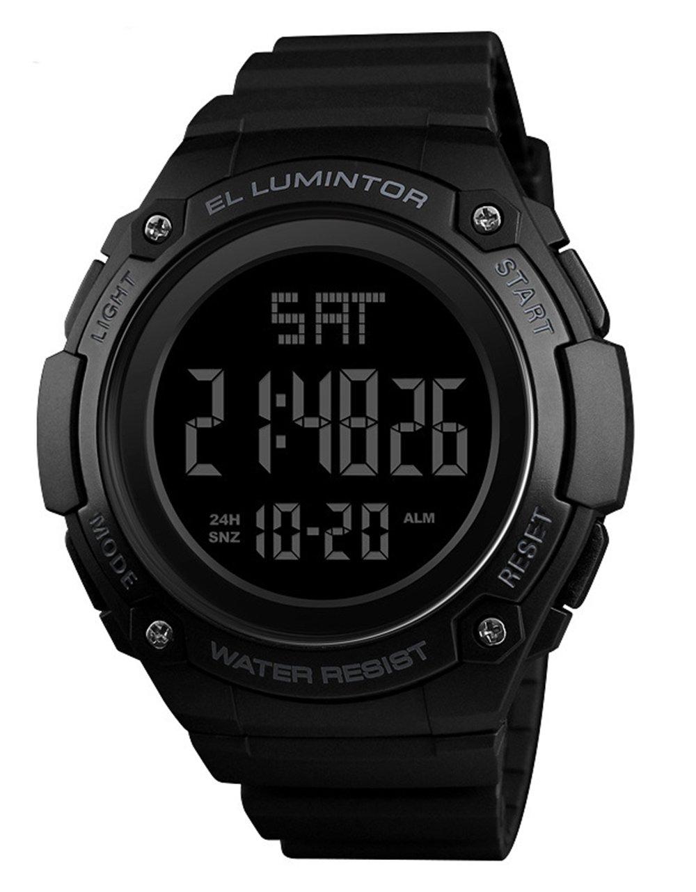 メンズアウトドアスポーツウォッチ高級ブランドメンズLEDデジタル腕時計日付防水時計大きなダイヤルミリタリー腕時計 54mm ブラック B07DKY6D1B ブラック ブラック