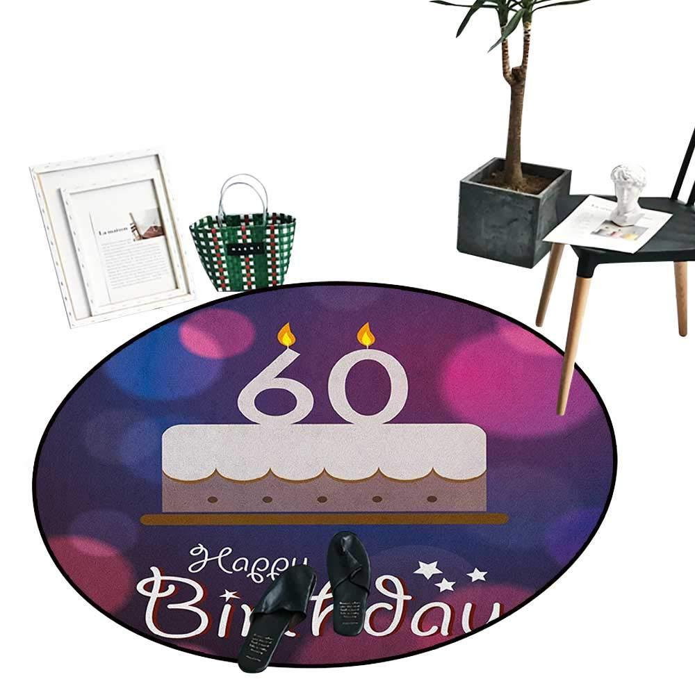 50歳の誕生日 ラウンド ラグ 寝室用 グランジー ディスプレイ 5年生まれのゴムスタンプ おめでとう リビング ダイニングルーム 寝室 ラグ Vermilion ホワイト D28