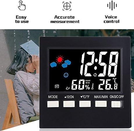 Termómetro Digital Multiusos Higrómetro Pantalla LCD Colorida Pronóstico del Tiempo Reloj Alarma Control de Voz Función de luz de Fondo/Negro: Amazon.es: Hogar