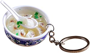FENICAL Lifelike Food Bowl Keyrings Porcelain Mini Bag Pendant Simulation Food Charms Jewelry Creative Keychain (Dumplings)