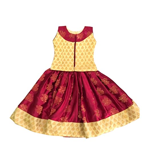 76c906541a9d4 Pattu Pavadai Beautiful Maroon and Cream Designer Fancy Langa for Baby  Girls and Kids  Amazon.in  Clothing   Accessories