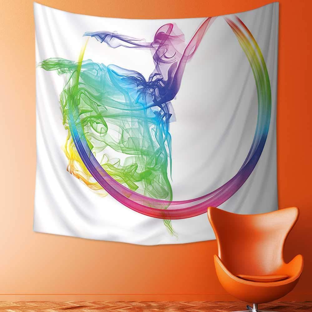 Printsonne Popular Art Tapestry Smoke Dance Shape Silhouette of Dancer Ballerina Rainbow Colors Fantasy Image Blue Aqua Room Bedroom Living Room Dormitory Decoration