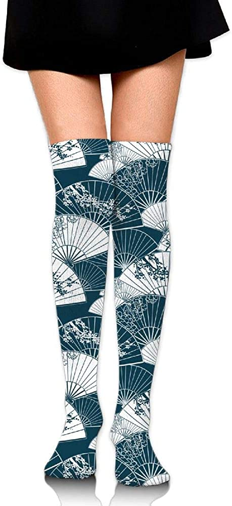 Womens//Girls Japanese Traditional Painting Fan Casual Socks Yoga Socks Over The Knee High Socks 23.6