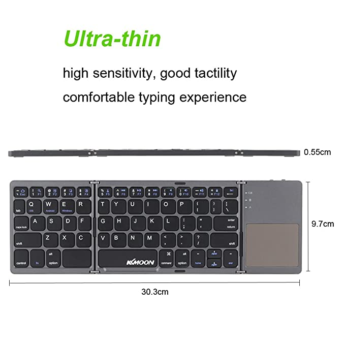 599c2cb6cc6 KKmoon Portable Mini Ultra Slim Thin Foldable Folding Bluetooth Wireless  Keyboard with Touchpad for iPhone 6s/iPad Pro/MacBook Mobile Phone Tablet  PC: ...