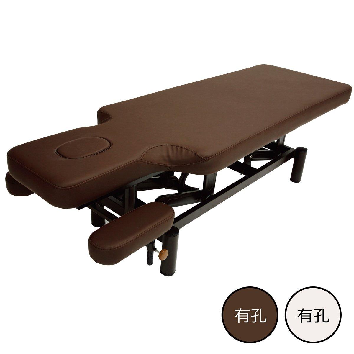手動昇降 整体ベッド ( 有孔 ) ブラウン 長さ185×幅60×高さ51~80cm [ マッサージベッド 昇降ベッド 介護ベッド 施術ベッド 整体ベッド エステベッド マッサージ台 施術台 マッサージ 整体 ベッド ] B018I5EKVS ブラウン