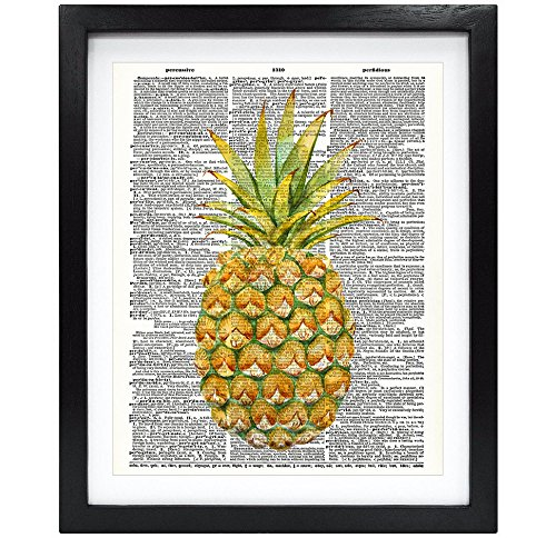 Susie Arts 8X10 Unframed Pineapple Upcycled Vintage Dictionary Art Print Book Art Print Home Decor Wall Art V093