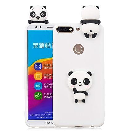Funluna Funda Huawei Y7 2018 Silicona, 3D Panda Patrón Cover Slim TPU Goma Suave Carcasa Gel Anti-Rasguño Protectora Espalda Caso Bumper Case para ...