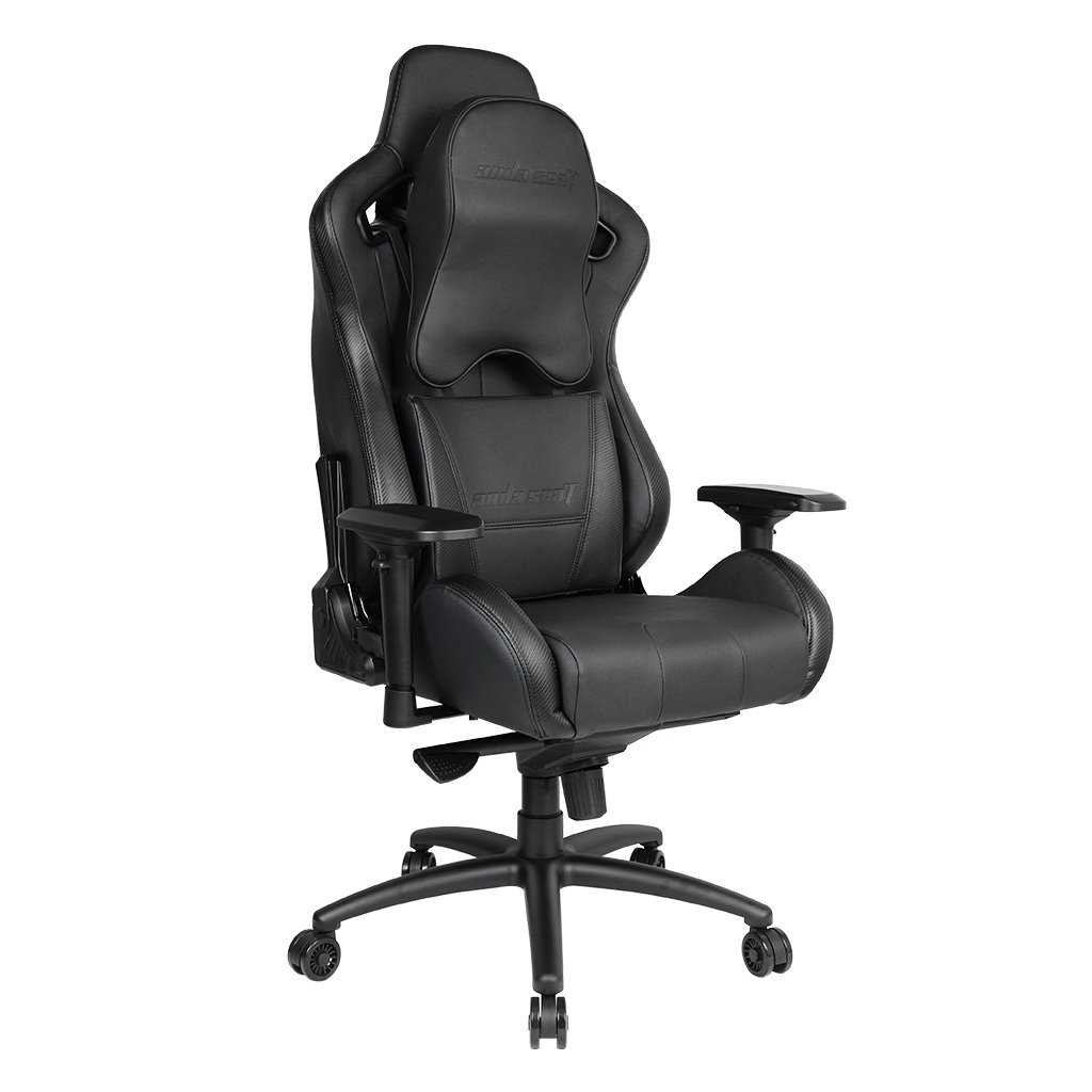 [Upgrade to Large Size Memory Foam Pillow]Anda Seat Premium Gaming Chair Dark Knight High Back 400lb Racing Style Seat,Computer Office Chair with Carbon Fiber Leather & Pillow Lumbar Support,Black