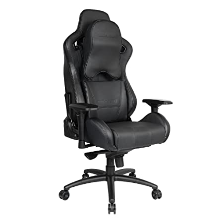 Upgrade to Large Size Memory Foam Pillow Anda Seat Premium Gaming Chair Dark Knight Series High Back 400lb Racing Chair,Computer Office Chair with Carbon Fiber Leather Pillow Lumbar Support Black