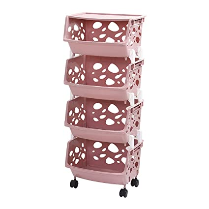 ZSH-stc 4 Tier Storage Stacking Basket Multi-Function Plastic Fruit Vegetable Storage Shelf