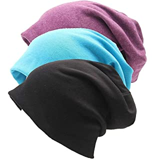 Chemo Cancer RRiody 3 Pack Unisex Indoors Cotton Stretch Beanie Hat Soft Sleep Cap for Hairloss