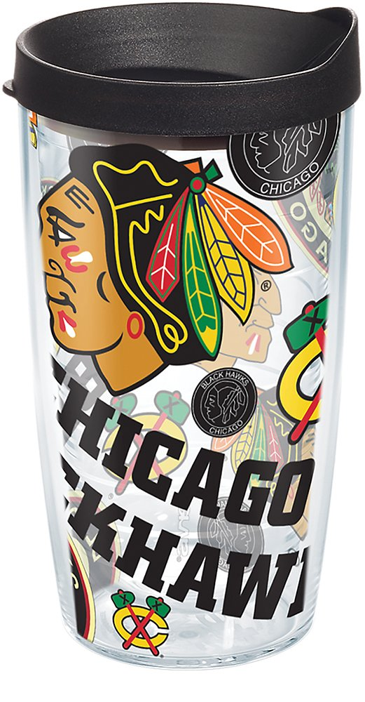 f3042a106aa30 Tervis 1278289 NHL Chicago Blackhawks All Over Tumbler with Wrap and Black  Lid 16oz