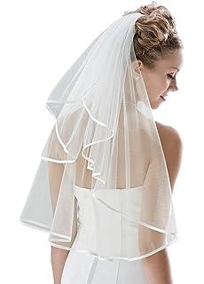 Velo de novia, hasta la cintura, de 71,1 cm de longitud