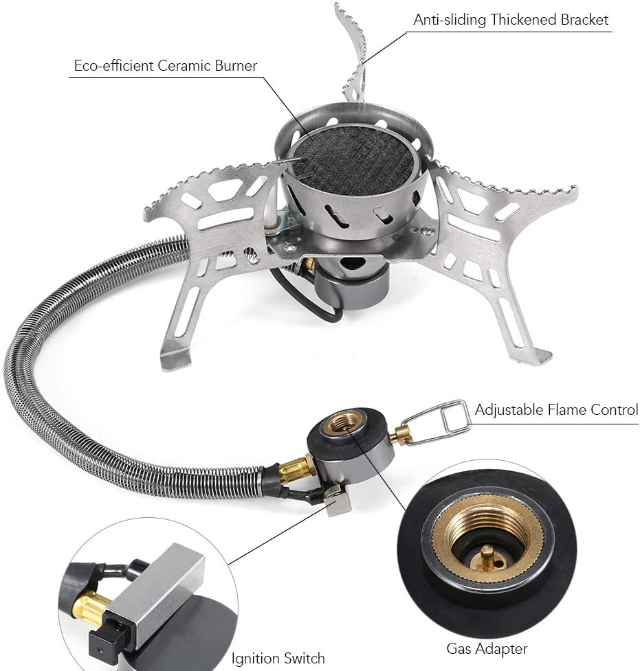 Lixada 3500W Windproof Camping Stove with Gas Cartridge Adapter For Outdoor Camping Hiking Traveling