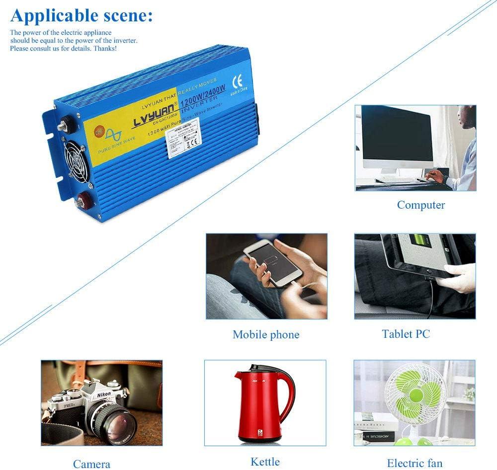 Yinleader Inversor De Corriente Onda Sinusoidal Pura 1200W 2400W ...