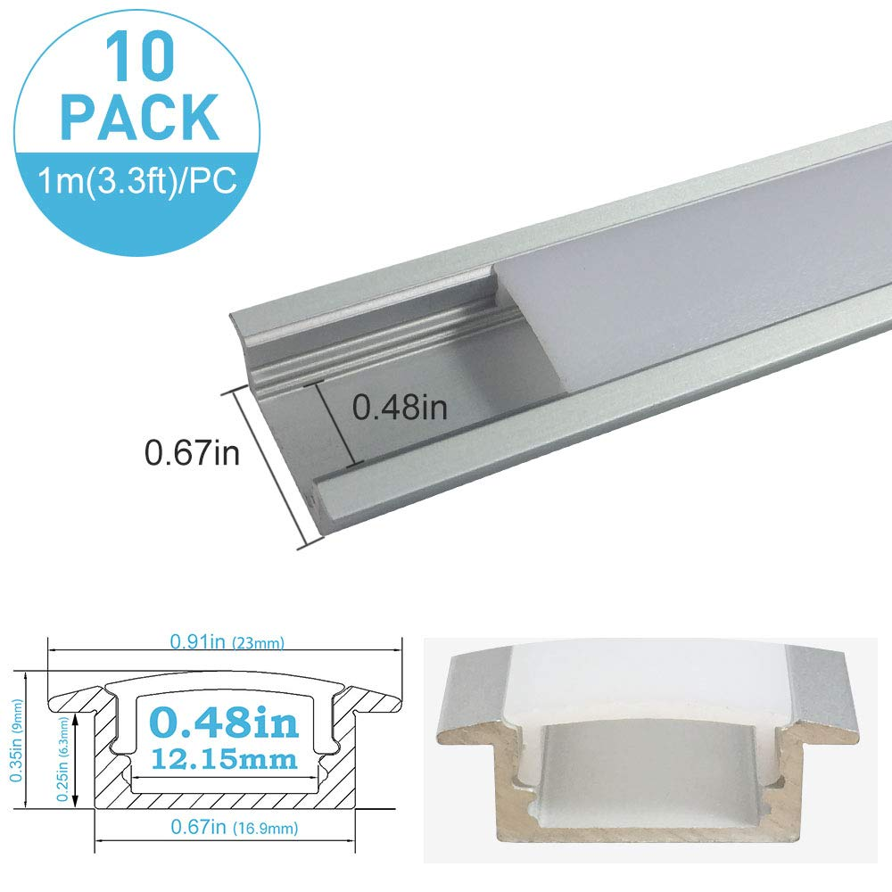 inShareplus U Shape LED Aluminum Channel System With Milk White Cover, End Caps and Mounting Clips, Aluminum Profile for LED Strip Light Installation, U01 Model, 10 Pack, 3.3ft/1 Meter, Silver