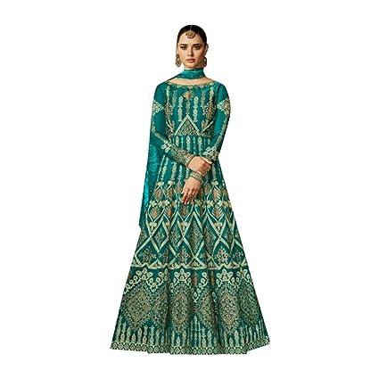 18a5c0e7c7 Amazon.com: Green Silk Pakistani Bridal Wedding Long Anarkali Salwar Kameez  Heavy Dupatta Suit Abaya Muslim Festive Dress 747: Home Improvement