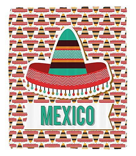 Chaoran 1 Fleece Blanket on Amazon Super Silky Soft All Season Super Plush Mexican Decorations Collection Mexico Design Cultural Ethnic Hat Costume Tradition Patriotism Emblem Pattern Fabric et Mint C