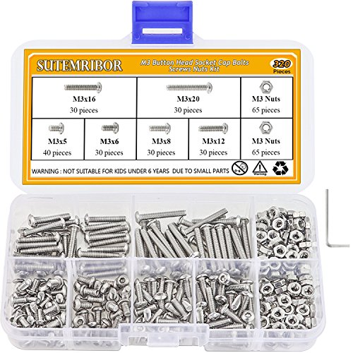 Sutemribor 320Pcs M3 Stainless Steel Button Head Hex Socket Head Cap Bolts Screws Nuts Assortment Kit + Wrench