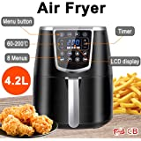 AUCMA 4.2L Air Fryer with 8 Menus Low Fat Oil-Free Oven Cooker LCD Display Household Appliances for French Fries 1350W, Black