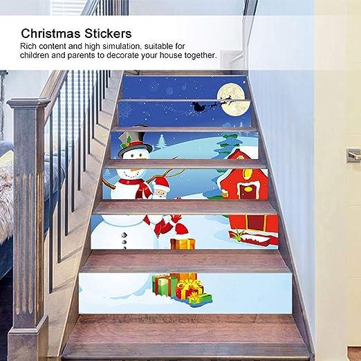 AUNMAS 6 Piezas de Escalera de Pared autoadhesiva Pegatina DIY calcomanía Escalera extraíble 3D Impermeable Navidad Santa Claus muñeco de Nieve decoración para Fiesta en casa: Amazon.es: Hogar