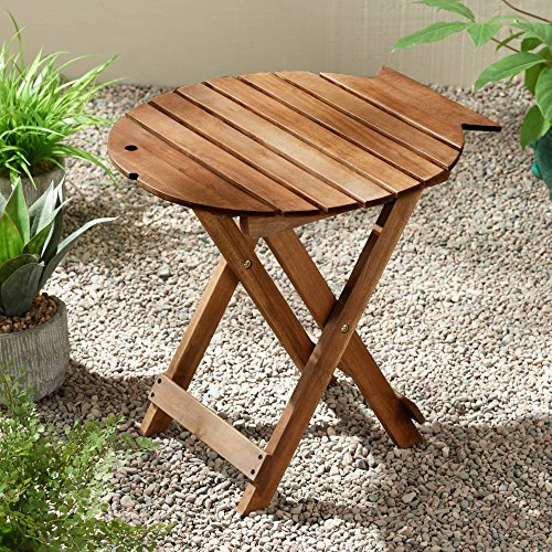 (Teal Island Designs Monterey Fish Natural Wood Outdoor Folding Table)
