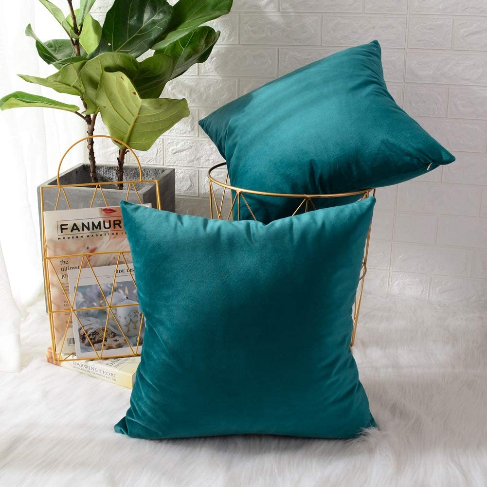 MERNETTE Pack of 2, Velvet Soft Decorative Square Throw Pillow Cover Cushion Covers Pillow case, Home Decor Decorations for Sofa Couch Bed Chair 24x24 Inch/60x60 cm (Blue Green)