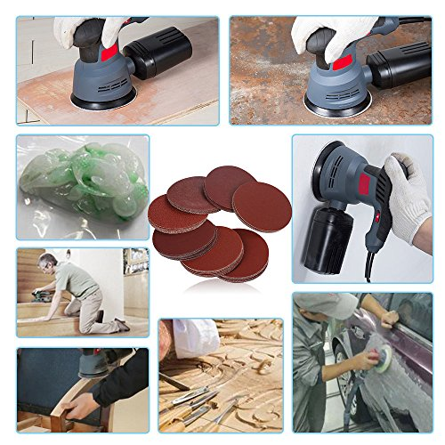 HIFROM 5 Inch Sanding Discs NO-Hole Hook and Loop 40 Grit Sandpaper Aluminum Oxide Random Orbital Sander Pads (60-Pack) by HIFROM (Image #6)