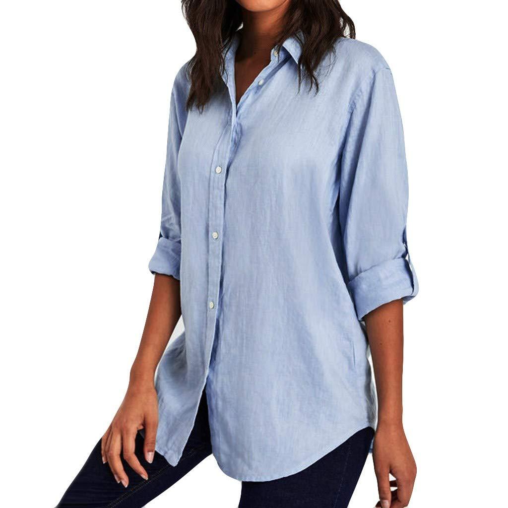 Kanzd Women Blouse Women Turn Down Collar Longsleeve Plus Size Tank Career Bloues T Shirt (Blue, XL)